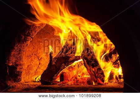 Wood stove with fire and blaze