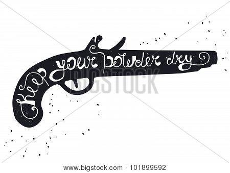 Black silhouette of powder gun on white background
