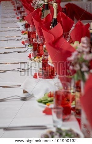 Festive table setting on room background