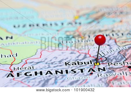 Kabul pinned on a map of Asia