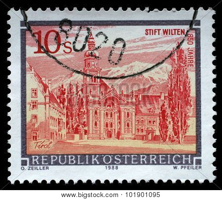 AUSTRIA - CIRCA 1988: A stamp printed in Austria shows Wilten Abbey in Tirol from the series Monasteries and Abbeys in Austria, circa 1988