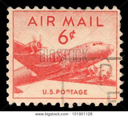 UNITED STATES - CIRCA 1947: stamp printed in United states (USA), shows military transport aircraft Douglas C-54 (DC-4) Skymaster , circa 1947