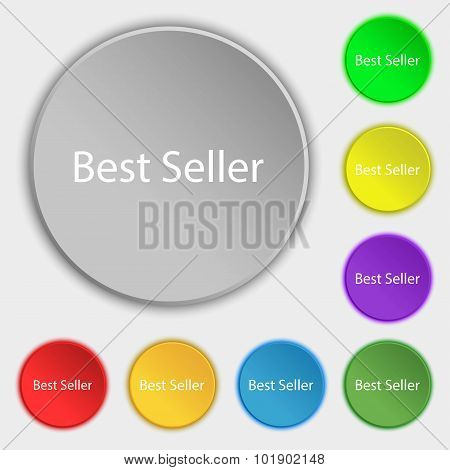 Best Seller Sign Icon. Best-seller Award Symbol. Symbols On Eight Flat Buttons. Vector