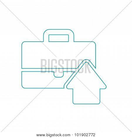 Flat Design Portfolio Icon. Portfolio Briefcase Concept Icon.