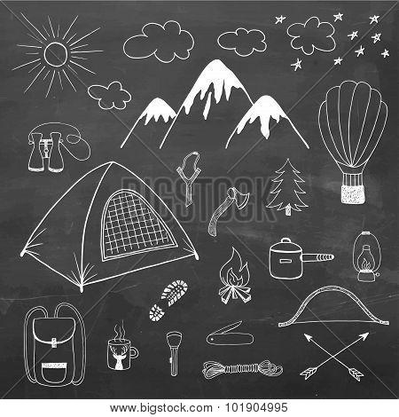 Adventures Hand Drawn Vector Doodle Set