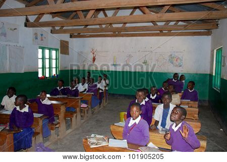 The Students Of Middle School Of The Village Pomerini In Tanzania, Africa 56