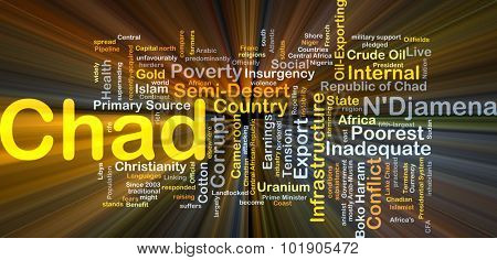 Background concept wordcloud illustration of Chad glowing light