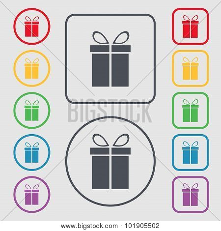 Gift Box Sign Icon. Present Symbol. Symbols On The Round And Square Buttons With Frame. Vector