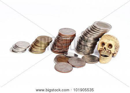 Set Baht Coins Heap White Background.