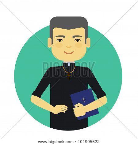 Catholic priest holding Bible