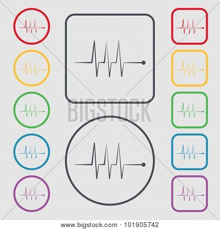 Cardiogram Monitoring Sign Icon. Heart Beats Symbol. Symbols On The Round And Square Buttons With Fr