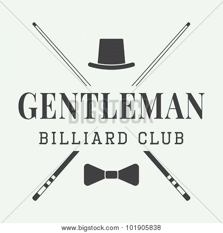 Vintage Billiard Label, Emblem Or Logo. Vector Illustration