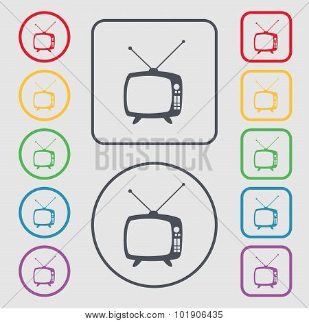 Retro Tv Mode Sign Icon. Television Set Symbol. Symbols On The Round And Square Buttons With Frame.