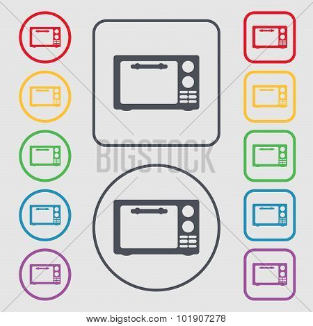 Microwave Oven Sign Icon. Kitchen Electric Stove Symbol. Symbols On The Round And Square Buttons Wit