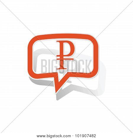 Rouble message sticker, orange