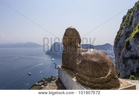 Sphinx Statue Over Capri Island, Capri, Italy