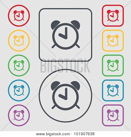 Alarm Clock Sign Icon. Wake Up Alarm Symbol. Symbols On The Round And Square Buttons With Frame. Vec