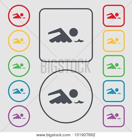 Swimming Sign Icon. Pool Swim Symbol. Sea Wave. Symbols On The Round And Square Buttons With Frame.