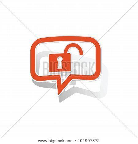 Unlocked message sticker, orange