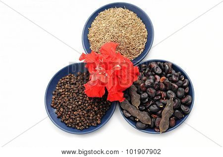 Chinese Rose With Set Of Beans,cumin And Black Pepper