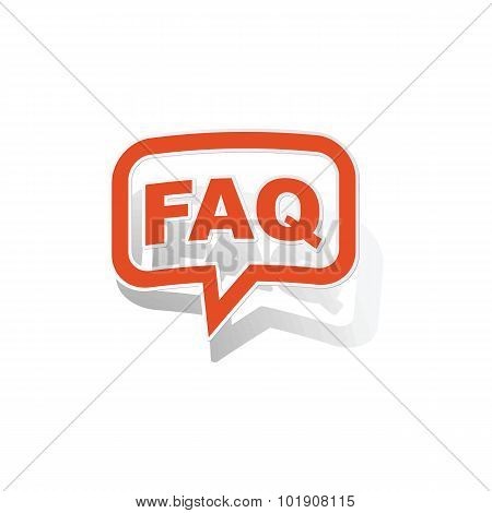 FAQ message sticker, orange