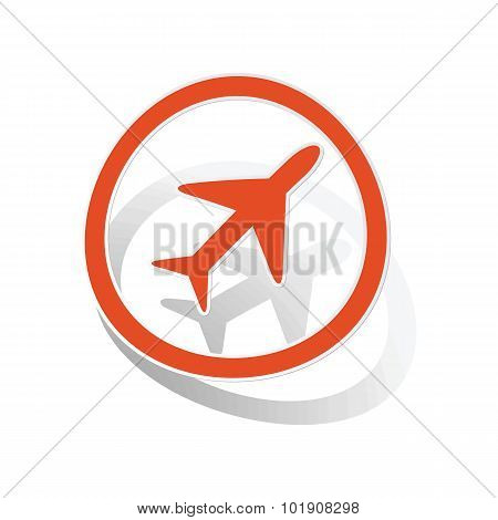 Plane sign sticker, orange