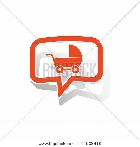 Stroller message sticker, orange