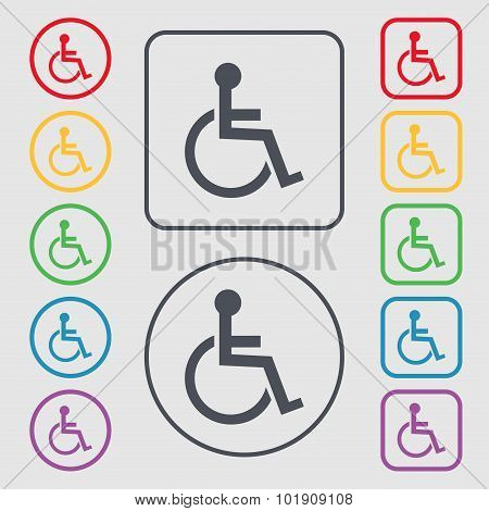Disabled Sign Icon. Human On Wheelchair Symbol. Handicapped Invalid Sign. Symbols On The Round And S