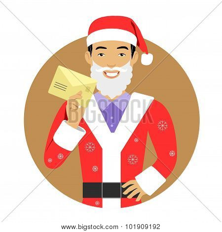 Man in Santa costume with letter