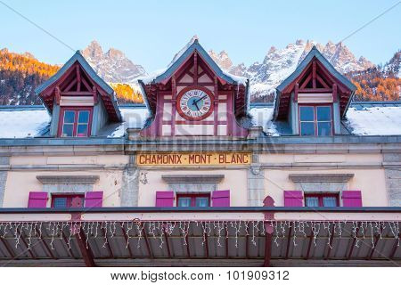Vibrant color Facade of Chamonix train station and mountain peaks