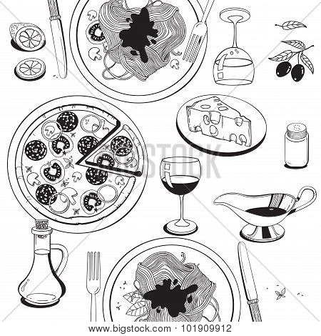 Hand Drawn Objects On Italian Food Theme: Pizza, Pasta, Tomato, Olive Oil, Olives, Cheese, Lemon, Sa