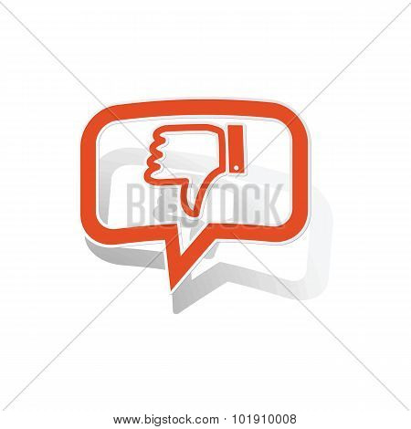Dislike message sticker, orange