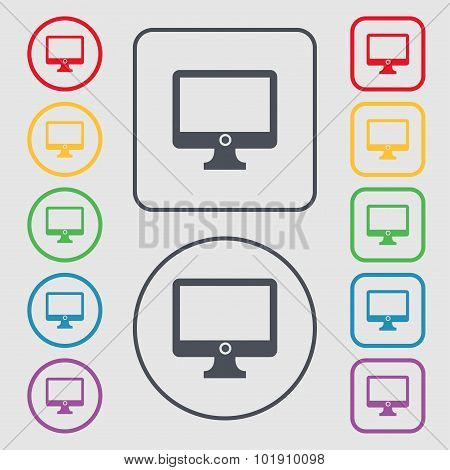 Computer Widescreen Monitor Sign Icon. Symbols On The Round And Square Buttons With Frame. Vector