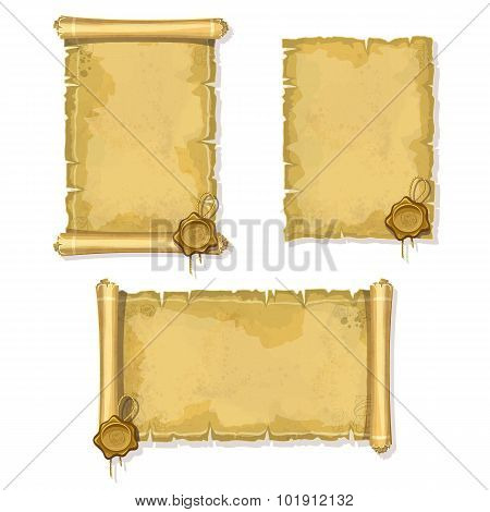 Old Vintage Scroll Isolated With Sealing Wax On White Background