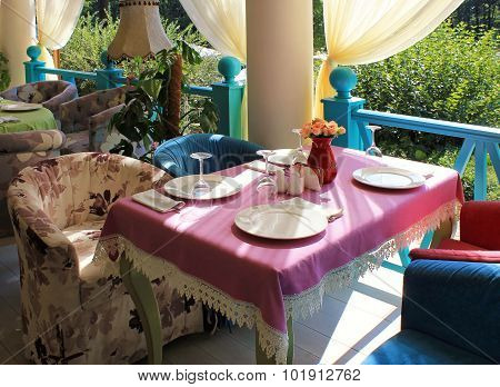 Beautiful Bright Colored Terrace In Country Restaurant