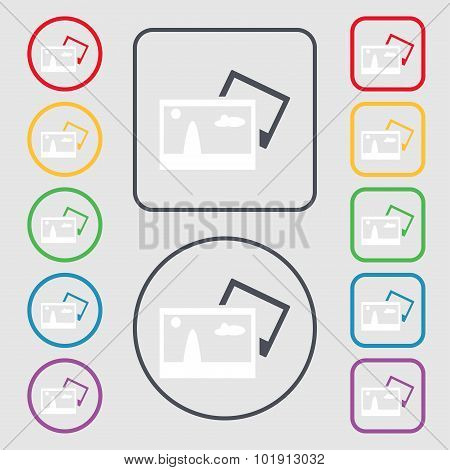 Copy File Jpg Sign Icon. Download Image File Symbol. Symbols On The Round And Square Buttons With Fr