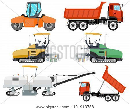 Heavy machinery for construction and repair of roads. Roadwork. Vector illustration