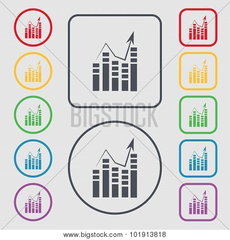Graph Icon Sign. Symbols On The Round And Square Buttons With Frame. Vector