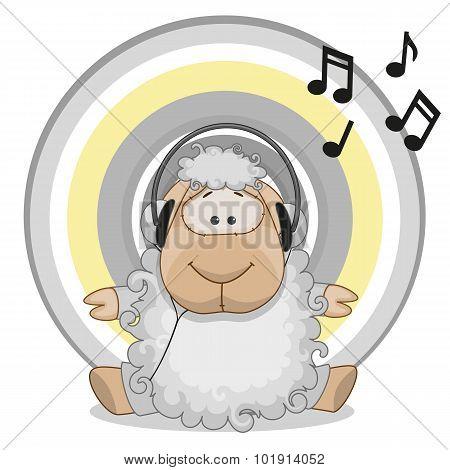 Sheep With Headphones