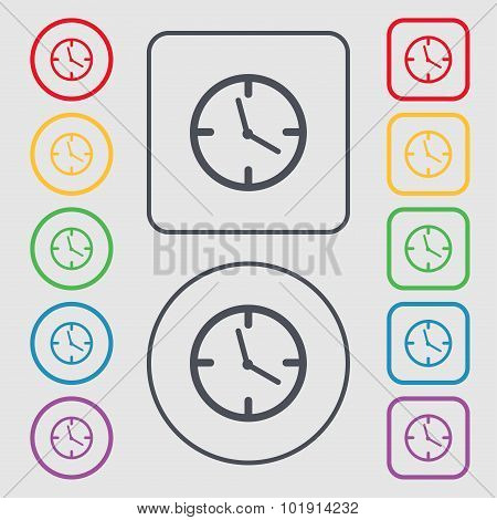 Clock Time Sign Icon. Mechanical Watch Symbol. Symbols On The Round And Square Buttons With Frame. V