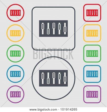 Dj Console Mix Handles And Buttons Icon Symbol. Symbols On The Round And Square Buttons With Frame.