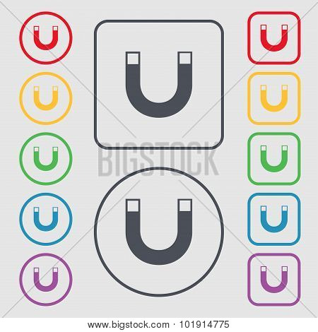Magnet Sign Icon. Horseshoe It Symbol. Repair Sig. Symbols On The Round And Square Buttons With Fram