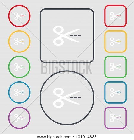 Scissors With Cut Dash Dotted Line Sign Icon. Tailor Symbol. Symbols On The Round And Square Buttons