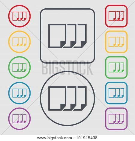 Copy File Sign Icon. Duplicate Document Symbol. Symbols On The Round And Square Buttons With Frame.