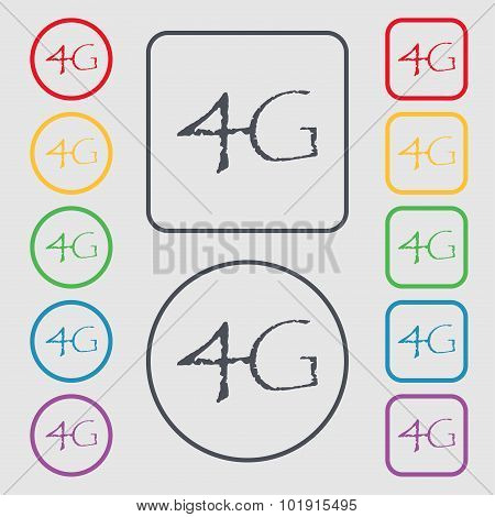 4G Sign Icon. Mobile Telecommunications Technology Symbol. Symbols On The Round And Square Buttons W