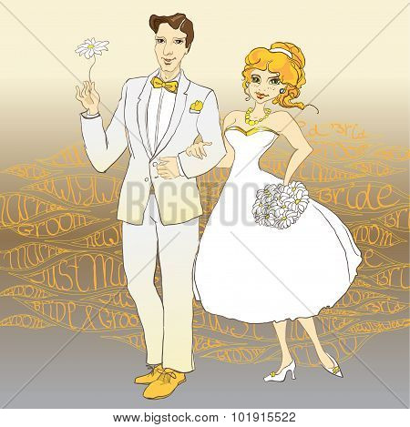 Hand Drawn Wedding Couple with Just Married text background