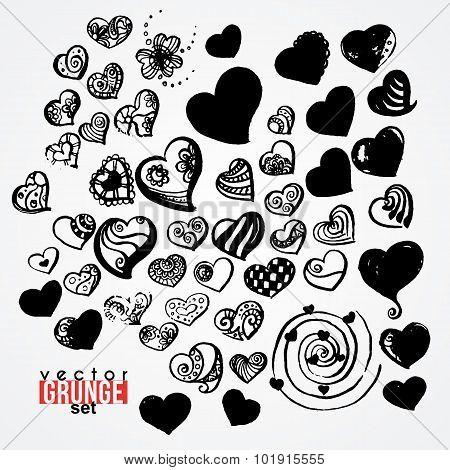 Set of vector ink hearts. Blots. Grunge. Vortex.