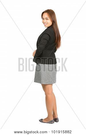 Asian Business Woman Behind Over Shoulder Full