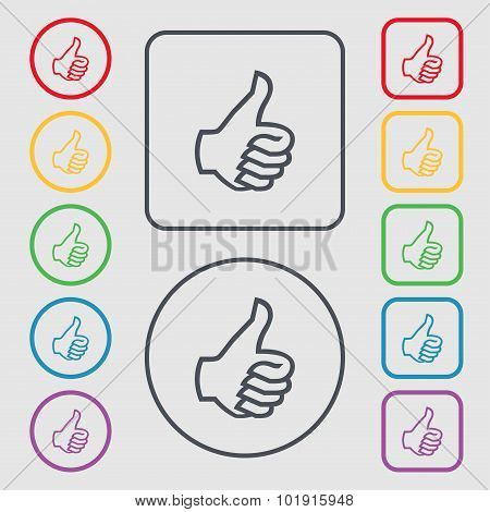 Like Sign Icon. Thumb Up Symbol. Hand Finger-up. Symbols On The Round And Square Buttons With Frame.