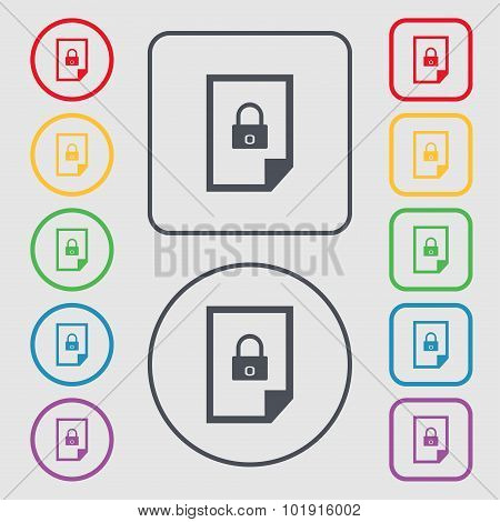 File Locked Icon Sign. Symbols On The Round And Square Buttons With Frame. Vector